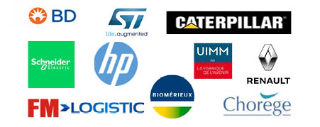 Logos of the partner companies of the Grenoble INP - Génie industriel Industrialists Club