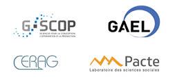 Logos de nos laboratoires partenaires : G-SCOP, GAEL, PACTE et CERAG